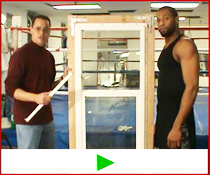 Lock-it Block-it home security burglar bar strength demonstration with heavy weight boxer.